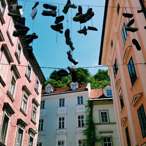 Hanging shoes in Ljubljiana #vscocam