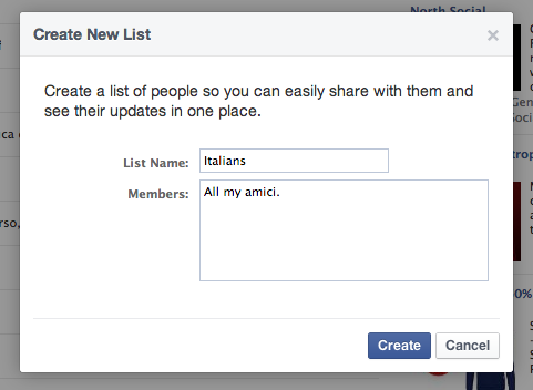 Facebook - Create List