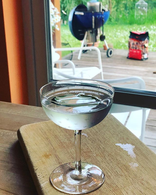 Hendrix martini in Victorian glass while the bbq heats up. Pretty close to perfection.