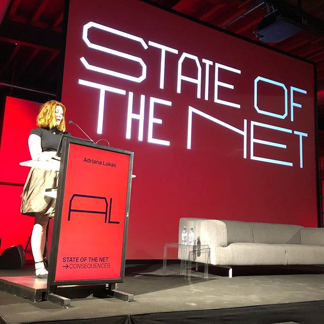 @ragegirrl giving the last keynote @stateofthenet 2018.