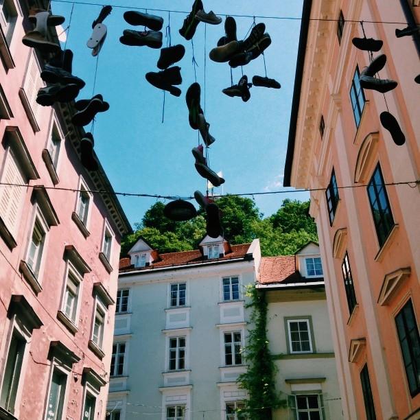 Hanging shoes in Ljubljiana #vscocam